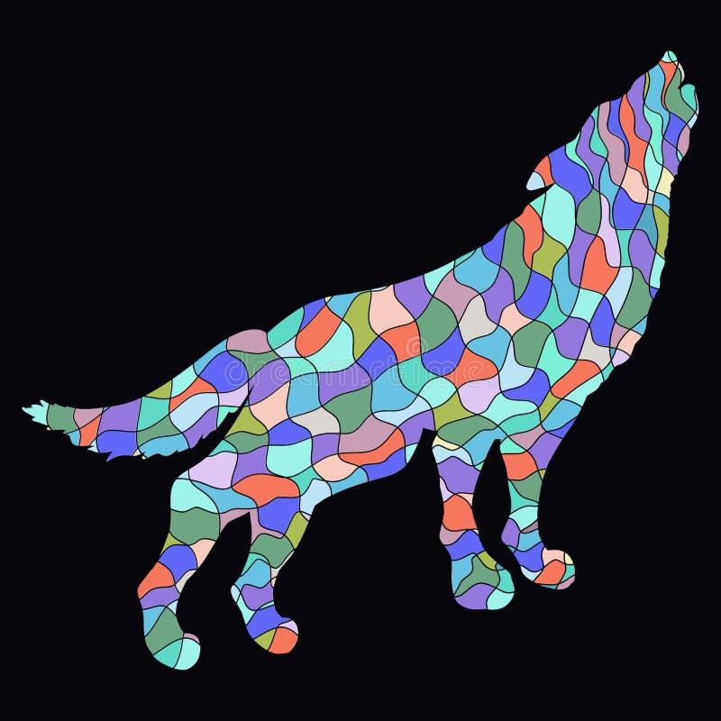 Wolf mit farbigem Mosaikmuster auf einem schwarzen Hintergrund stock abbildung