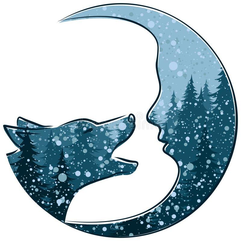 Wolf mit Monat und dem Winterwald vektor abbildung