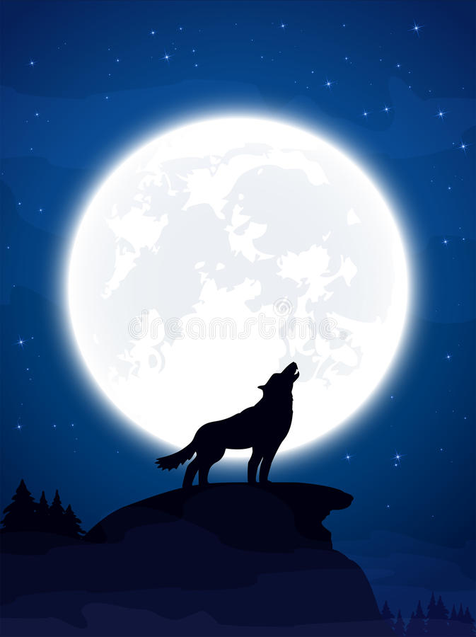 Wolf and Moon royalty free illustration