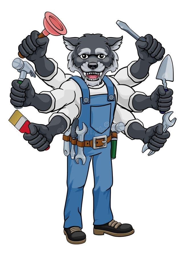 Wolf Multitasking Handyman Holding Tools royalty-vrije illustratie