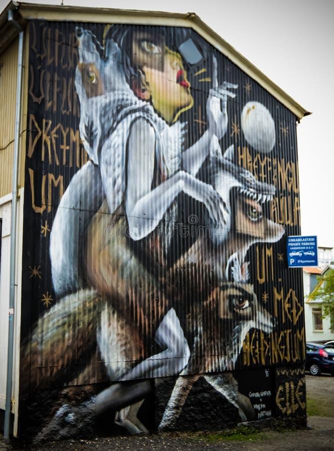 Wolf Mural Art fotografia stock