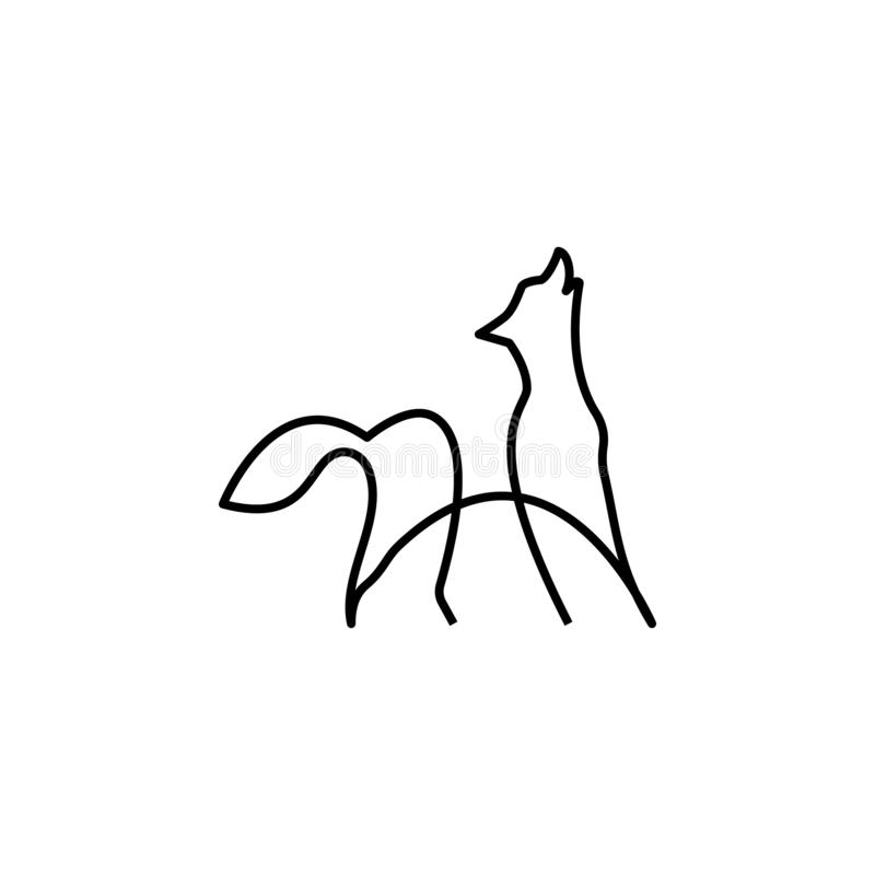 Wolf one line icon. Element of animal icon. Thin line icon for website design and development, app development. Premium icon. On white background vector illustration