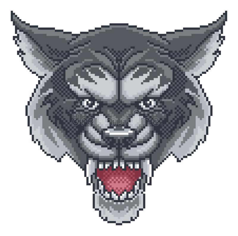 Wolf Pixel Art Arcade Game Cartoon Mascot vector illustration