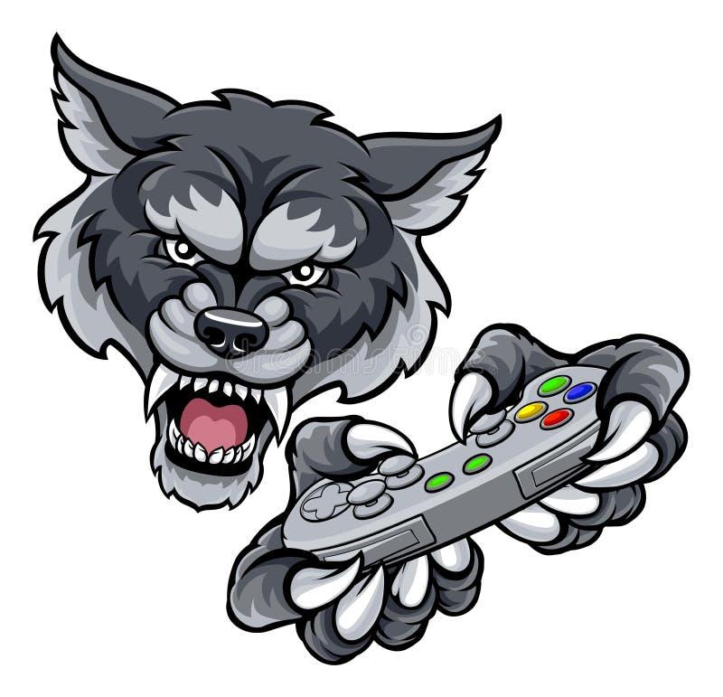 Wolf Player Gamer Mascot ilustração stock