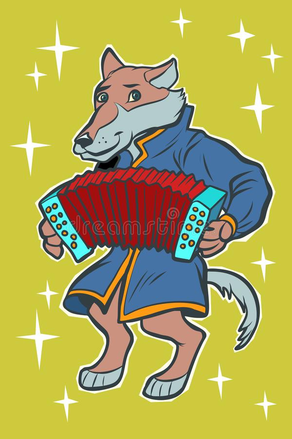 Wolf plays accordion harmonica. fairytale character. Comic cartoon pop art retro vector illustration drawing royalty free illustration