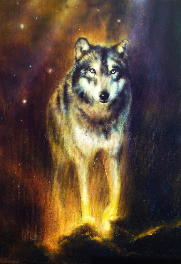 Wolf portrait, mighty cosmical wolf walking from light, beautiful detailed oil painting on canvas. stock illustration
