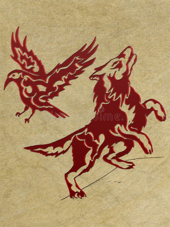 Download Wolf and raven - red stock illustration. Illustration of flaming - 7568112