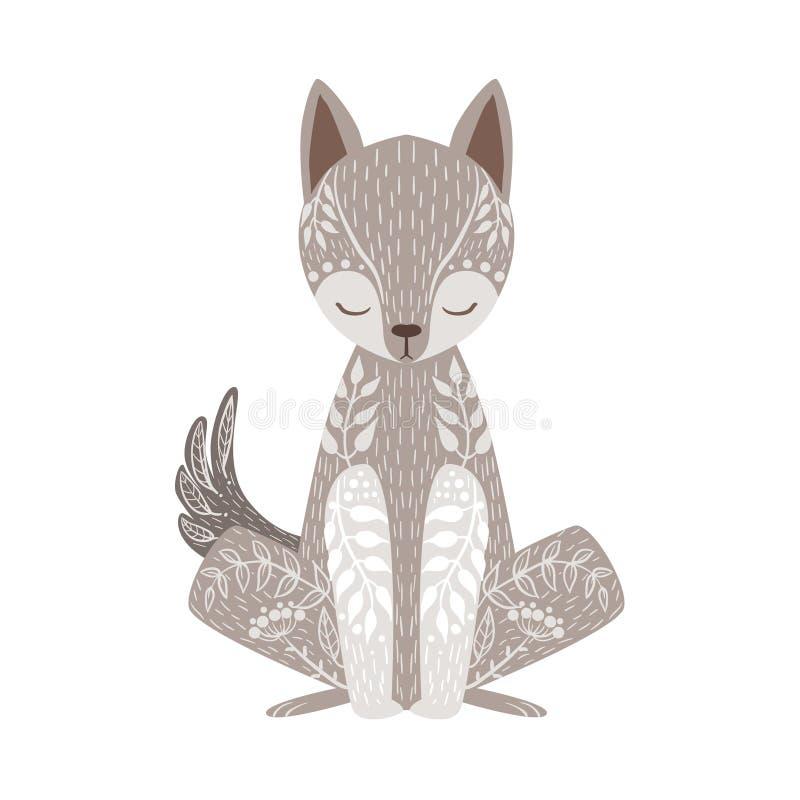 Wolf Relaxed Cartoon Wild Animal met Gesloten die Ogen met de Stijl Bloemenmotieven en Patronen van Boho Hipster worden verfraaid stock illustratie