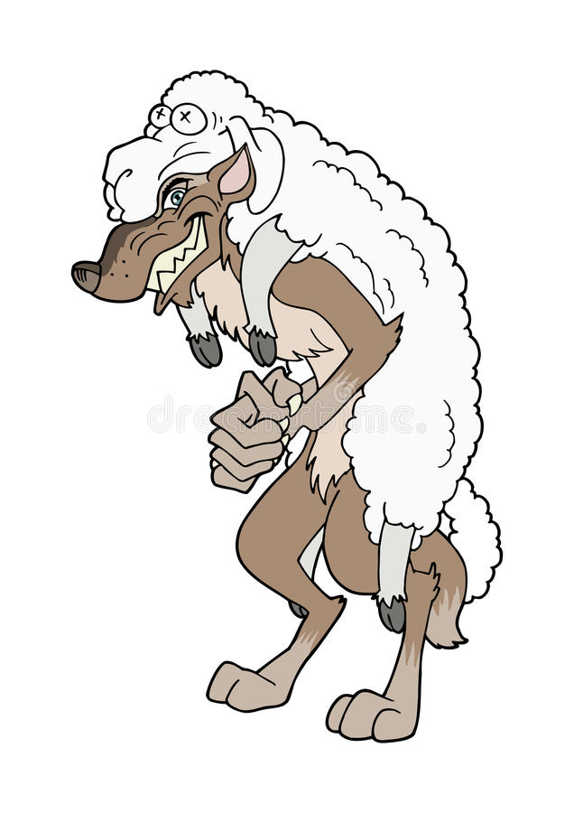 Wolf in sheep s clothing stock illustration. Illustration of leather -  60664945