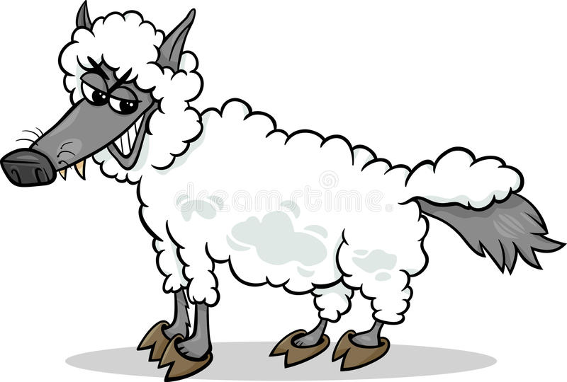 Wolf in sheeps clothing cartoon royalty free illustration
