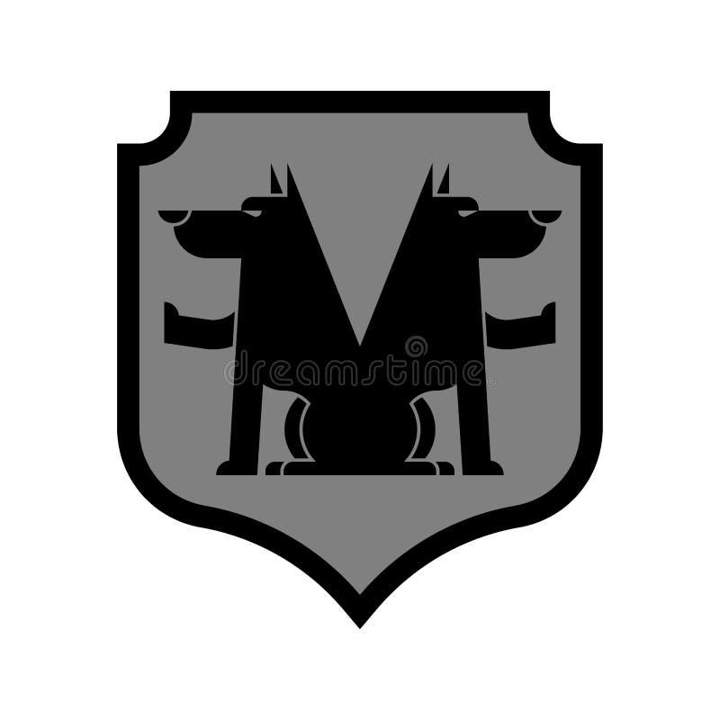 Wolf Shield heraldiskt symbol Teckenvarulv för vapensköld roy royaltyfri illustrationer