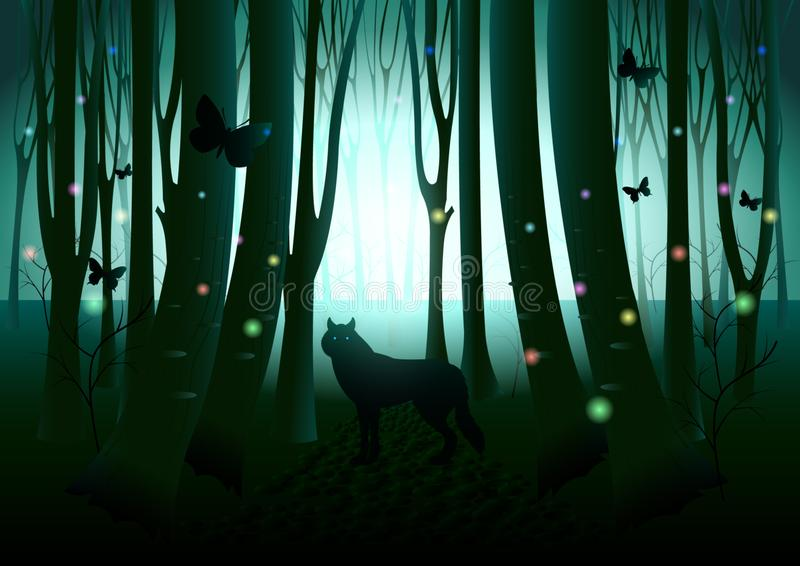 Wolf silhouette in dark fantasy forest royalty free illustration