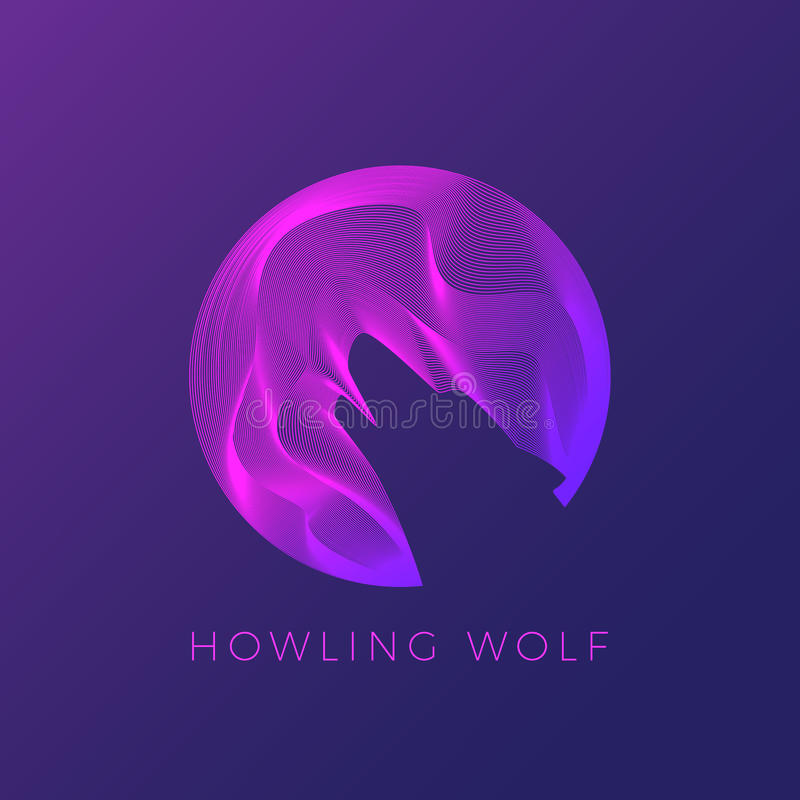 Wolf Silhouette Howling on The Moon. Abstract Modern Logo Template, Vector Sign or Line Illustration. royalty free illustration