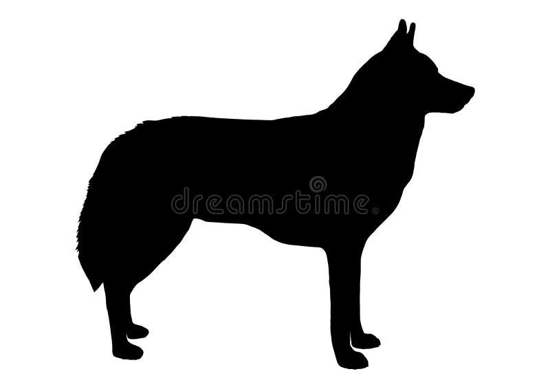 Wolf Silhouette lokalisierte Auch im corel abgehobenen Betrag lizenzfreie abbildung