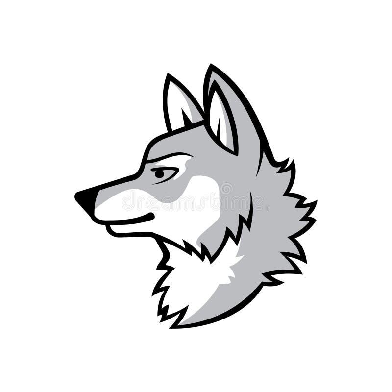 Wolf Silhouette. Vintage Wolf Face Logo Emblem Stock