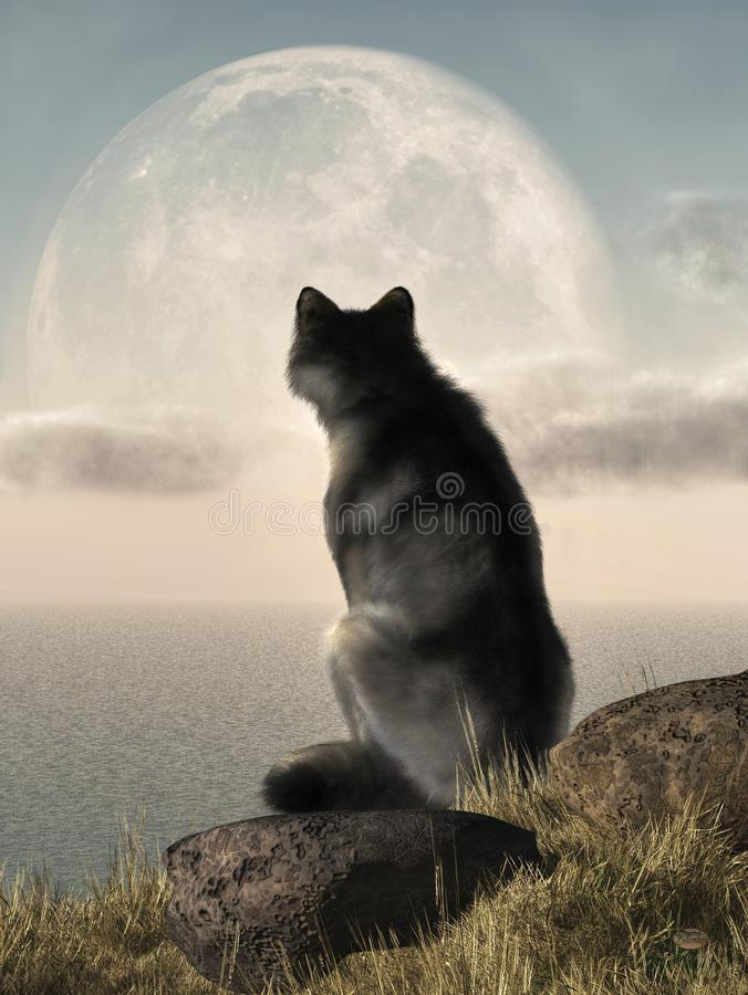 Wolf Moon Coast. A wolf sits on a rock covered hill on the coast. The wolf has its back to the viewer as it watches the full moon rise into the afternoon sky. 3D vector illustration