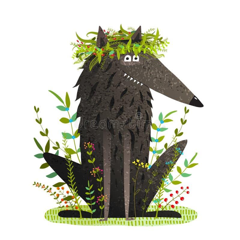 Wolf Smiling mignon amical noir dans l'herbe illustration de vecteur