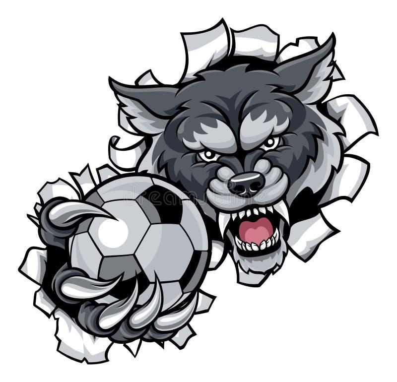 Wolf Soccer Mascot Breaking Background vector illustratie