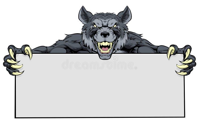 Wolf Sports Mascot Sign illustrazione di stock