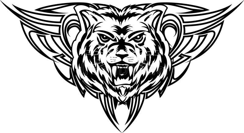 Wolf tattoo dezign stock illustration