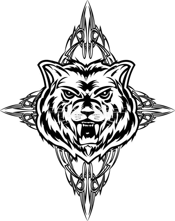Wolf tattoo dezign vector illustration