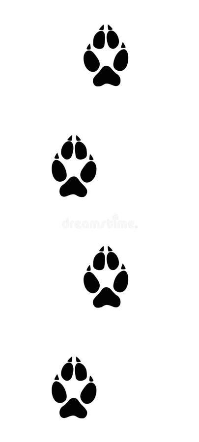 Wolf Tracks Black Footprints royaltyfri illustrationer