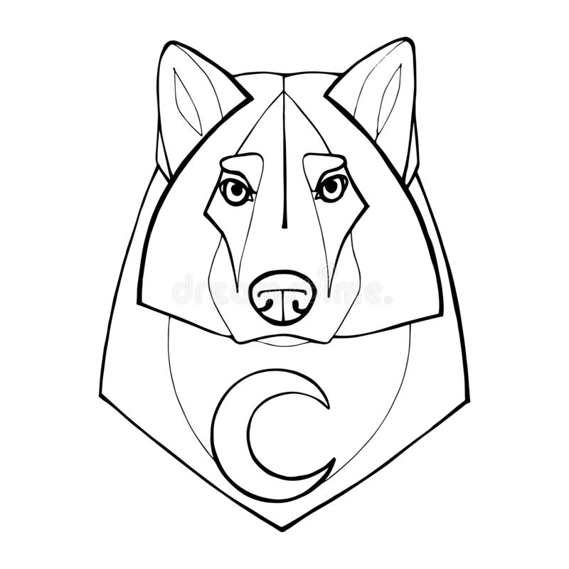 Wolf in tribal style with moon.Detail wolf for coloring page, tattoo, shirt design effect and logo. Hand-drawn wolf side stock image