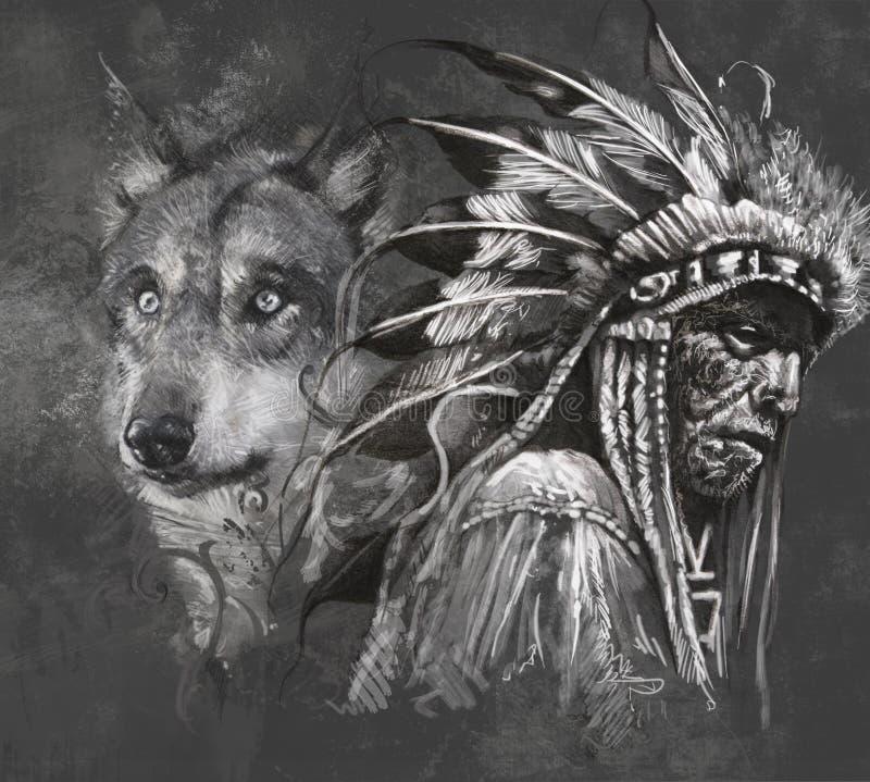 Wolf und indianischer Leiter. Tätowierung lizenzfreie abbildung