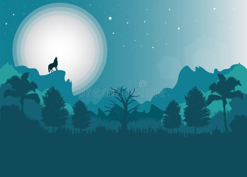 Wolf und Mond und Landschaft stockbild