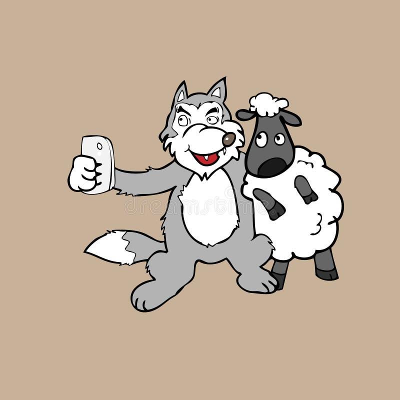 Wolf und Schafe Selfie vektor abbildung