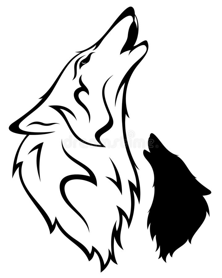 Wolf vector. Howling wolf illustration - outline and silhouette
