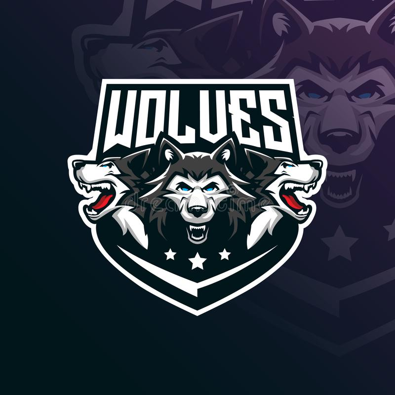 Wolf vector mascot logo design with modern illustration concept style for badge, emblem and tshirt printing. angry wolf. Illustration for sport and esport team royalty free illustration