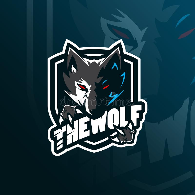 Wolf vector mascot logo design with modern illustration concept style for badge, emblem and tshirt printing. angry wolf. Illustration for sport and esport team stock illustration