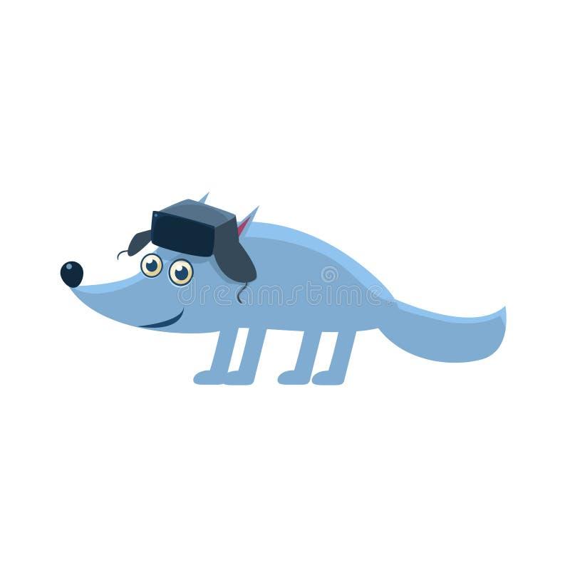 Wolf Wearing Hat With Ear klaffar vektor illustrationer