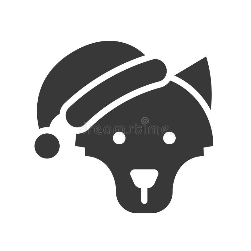 Wolf wearing santa hat silhouette icon design. Wolf wearing santa hat, silhouette icon design vector illustration