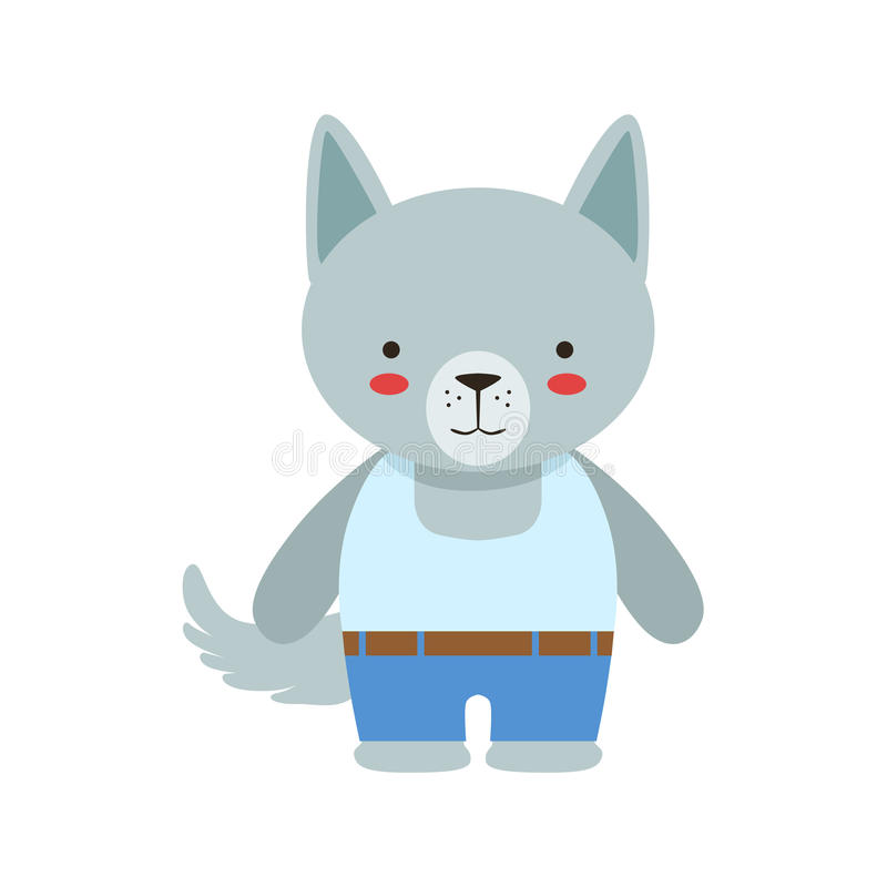 Wolf In White Sleeveless Top und Jeans netter Toy Baby Animal Dressed As Little Boy stock abbildung