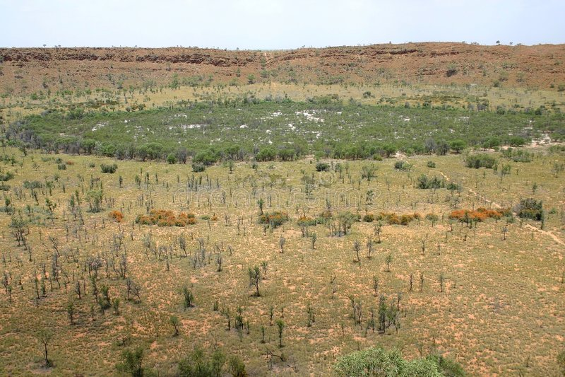 Wolfe-Nebenfluss-Meteorit-Krater. Australien stockfotos