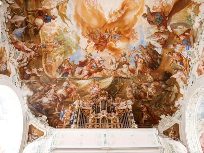 Wolfegg chirche. religious painting. Wolfegg, Germany - november 2, 2014: Wolfegg chirche. Interior of the church with religious painting on the dome of the stock photos