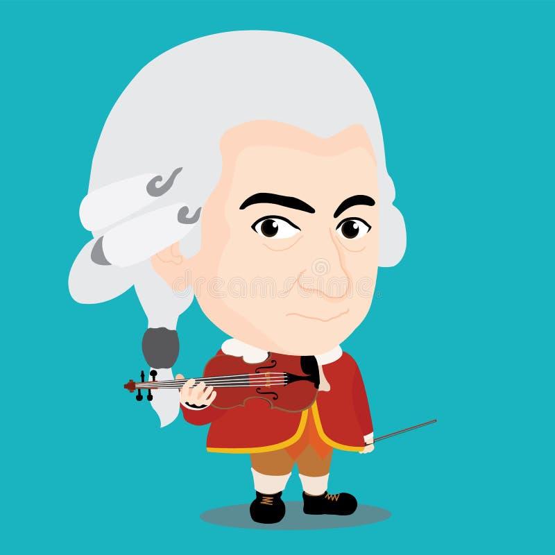 Wolfgang Amadeus Mozart Character royalty free illustration
