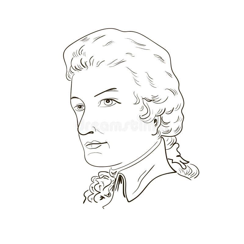 Wolfgang Amadeus Mozart. vector illustration