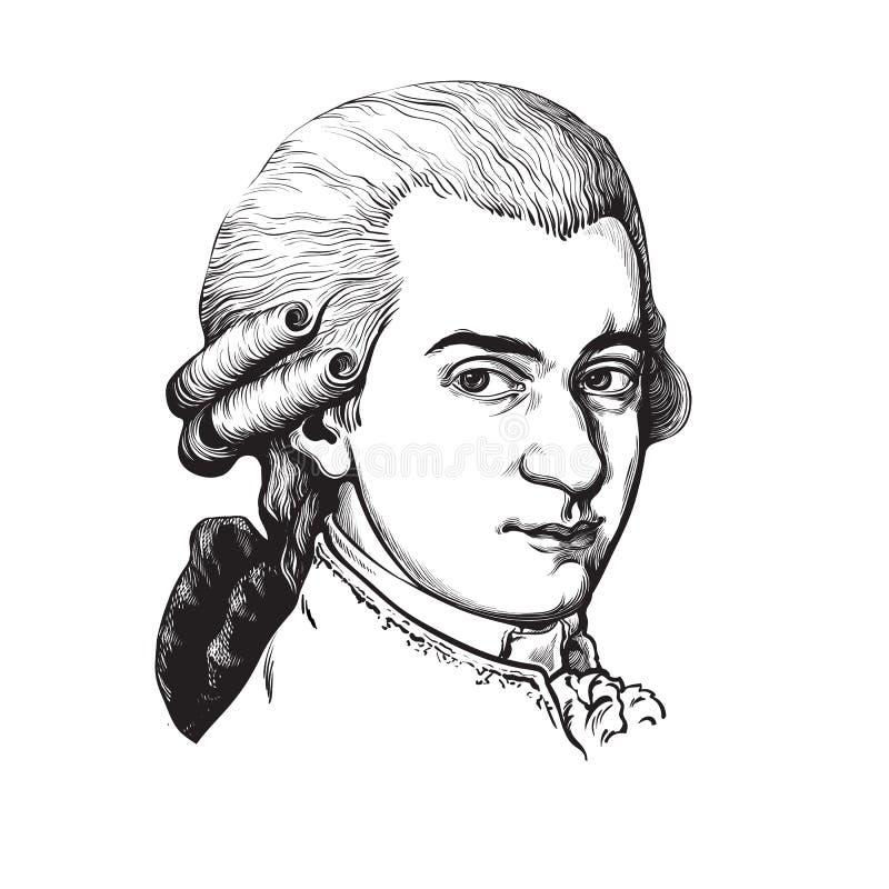 Wolfgang Amadeus Mozart. Vector portrait. vector illustration