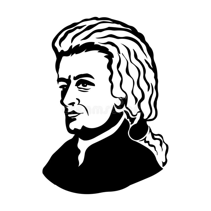 Wolfgang Amadeus Mozart.Vector portrait of Wolfgang Amadeus Mozart vector illustration