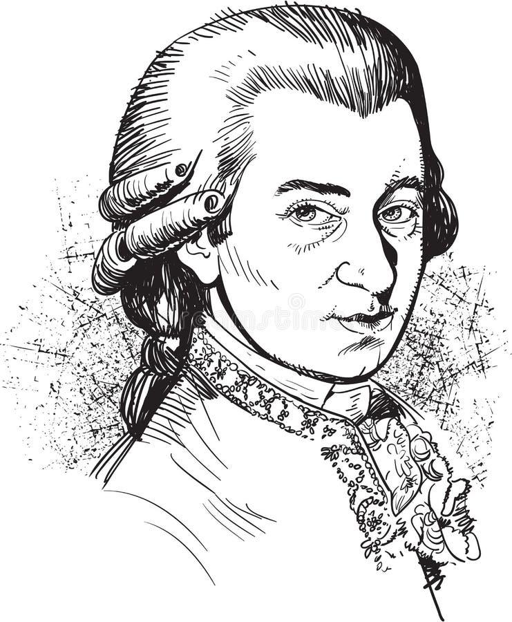 Wolfgang Amadeus Mozart portrait illustration, line art vector vector illustration