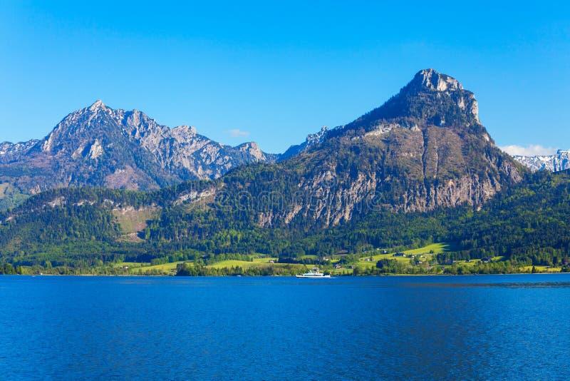 Wolfgangsee湖在奥地利 免版税库存图片