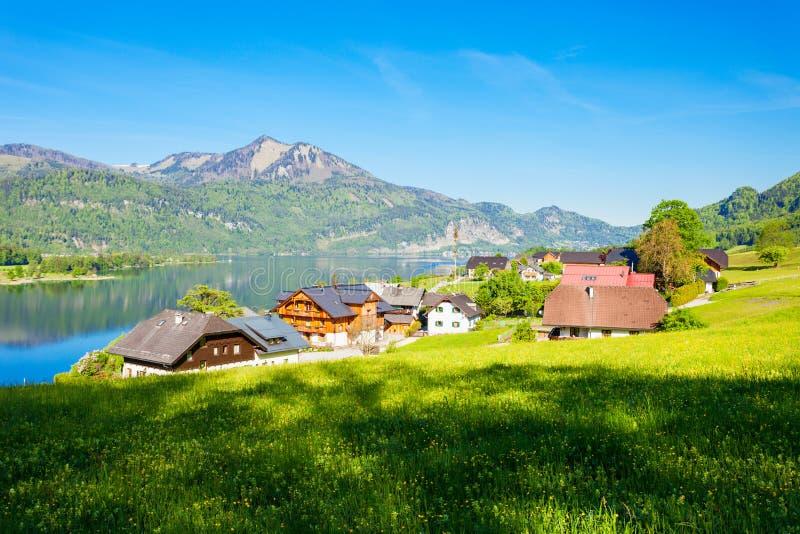 Wolfgangsee湖在奥地利 免版税图库摄影