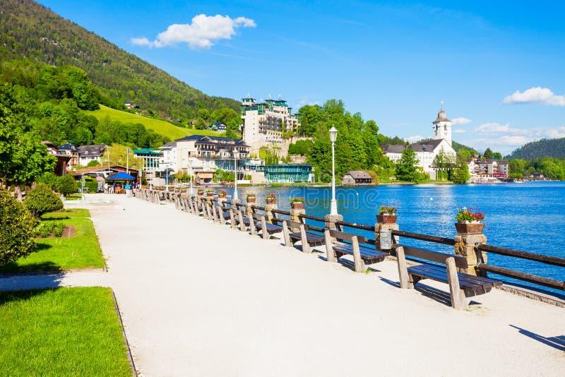 Wolfgangsee湖在奥地利 免版税库存照片