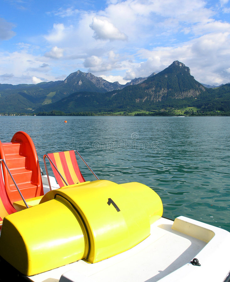 Wolfgangsee. Boat on Wolfgangsee royalty free stock photo