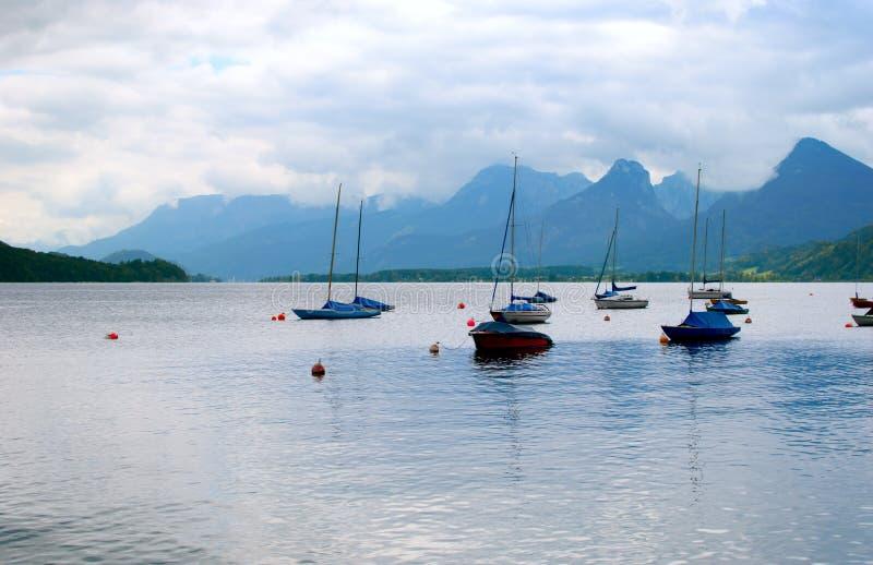 Wolfgangsee, Austria. Sailing boats on Wolfgangsee Lake, Salzburgerland, Austria royalty free stock photos