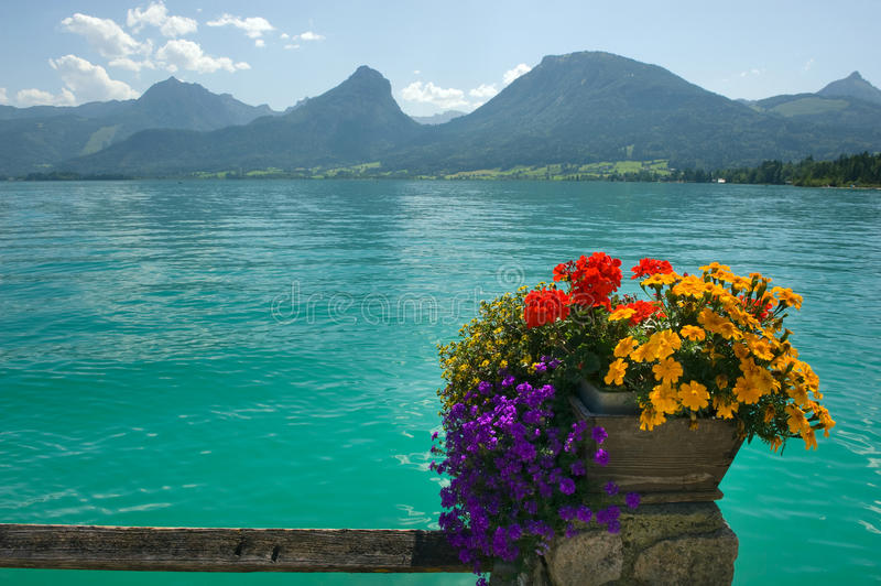 Wolfgangsee in Austria. View from the town of St.Wolfgang on to the Wolfgangsee in Austria stock image