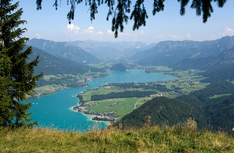 Wolfgangsee in Austria. View from the zwolferhorn mountain on to the Wolfgangsee in Austria stock image